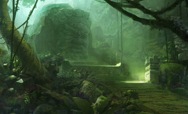 jungle temple illustration green artwork landscape