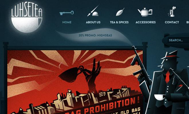 luhse tea website dark blue icons navigation setup