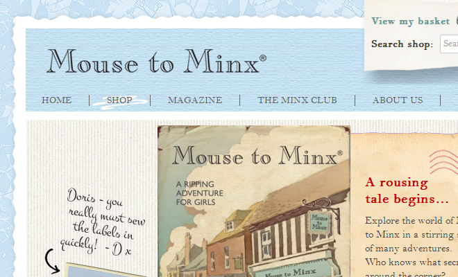 mouse to minx blue website layout inspiration