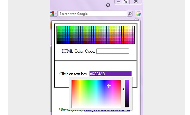 html color code picker hex opera extension