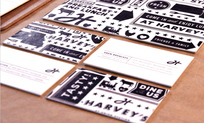 harveys food restaurant business card design