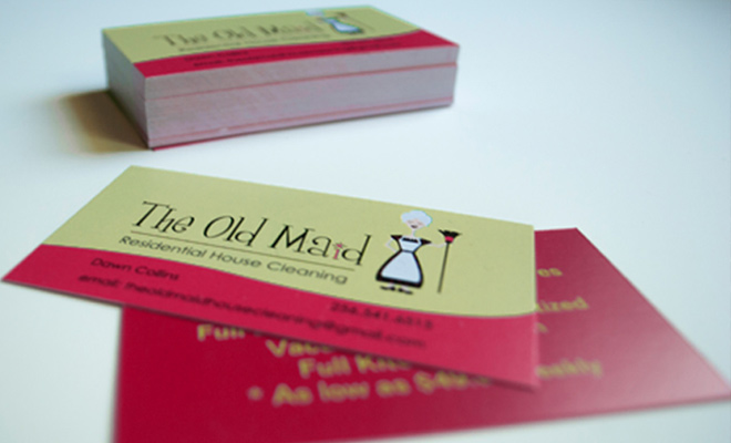 the old maid residential cleaning business card