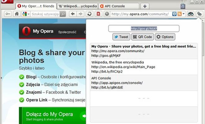 opera extension popup browser toolbar shorten url