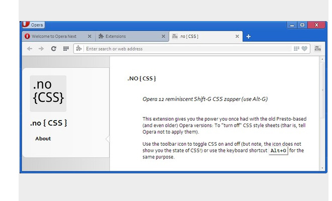 no css opera extension details