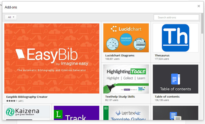 google drive extensions add on store
