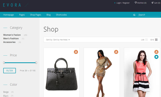 evora responsive ecommerce theme wordpress