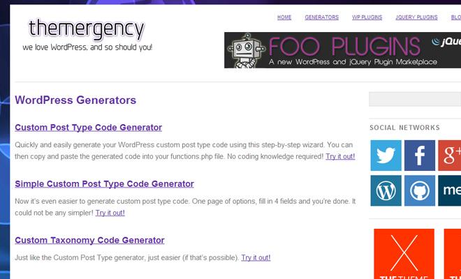 online webapp themergency wordpress generator code