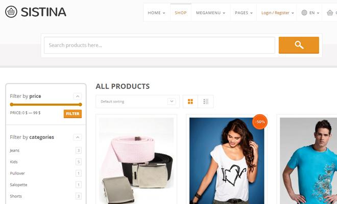 sistina flat shop ecommerce theme wordpress