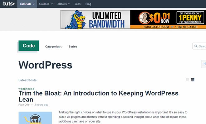 wordpress tutsplus website tutorials blog