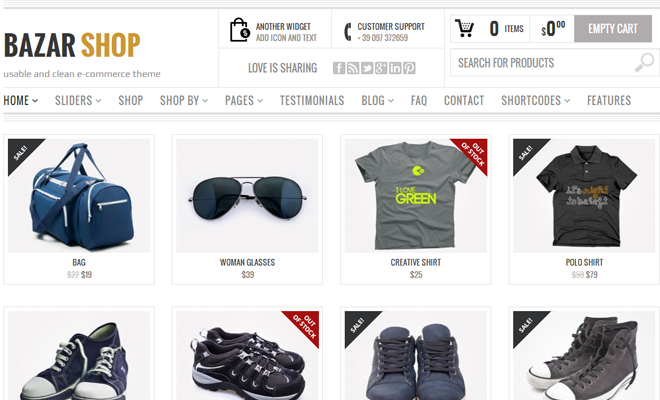 bazar shop ecommerce theme inspiration webdesign