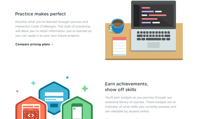 treehouse teaching website vector icons layout