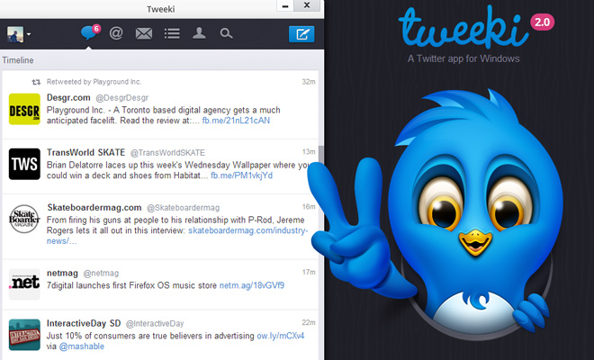 tweeki twitter app for windows website vector bird