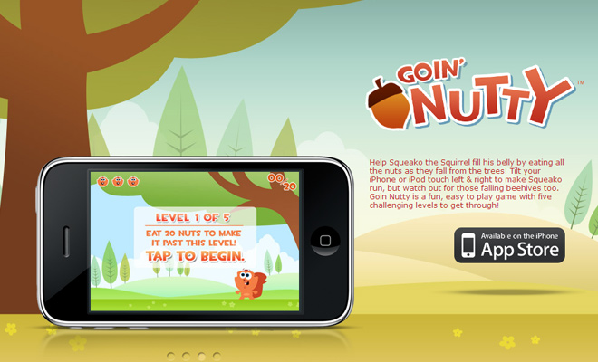 goin nutty vector iphone app game landing page website