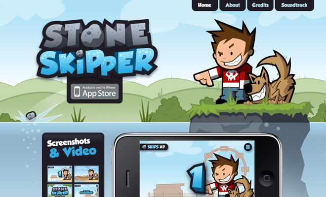 stone skipper iphone app website layout design