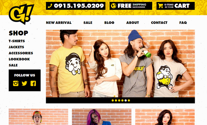 gnarly online ecommerce vibrant yellow website