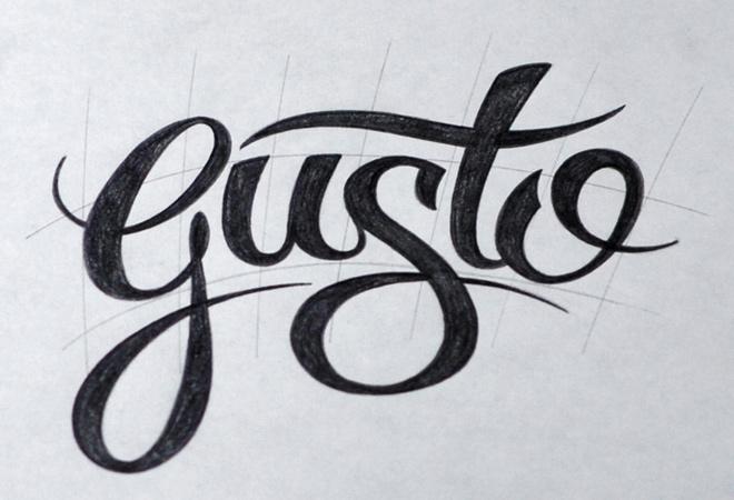 dark gusto written script typography