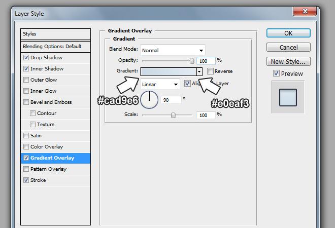 select menu gradient overlay effect