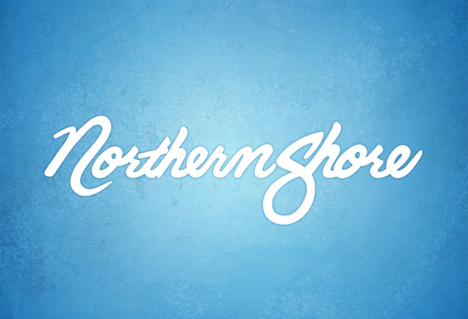 northern shore script text typography design