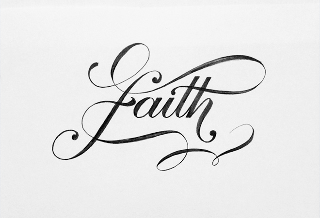 faith hand written drawing typography