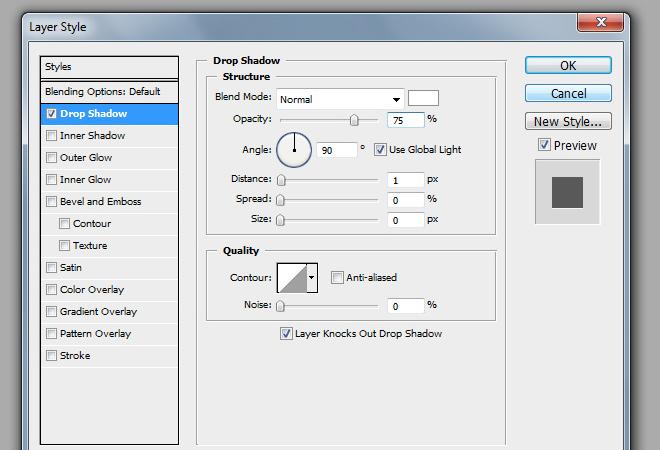 select menu text font drop shadow layer effect