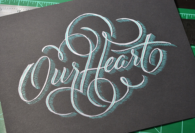 our heart written script typography lettering