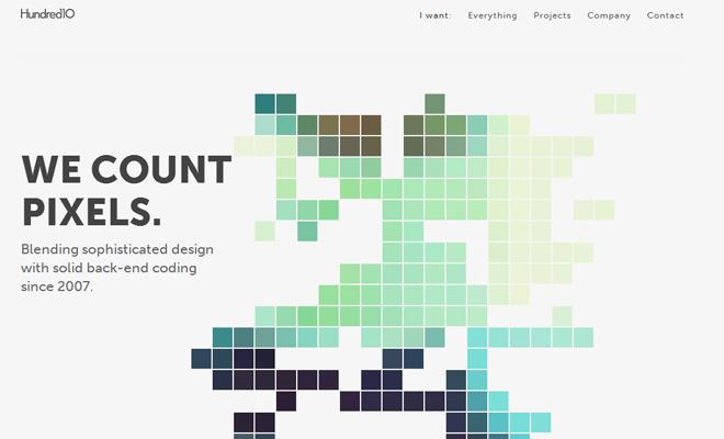 hundred 10 design portfolio white layout