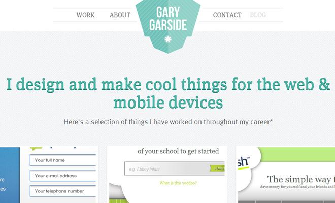 gary garside web design portfolio layout