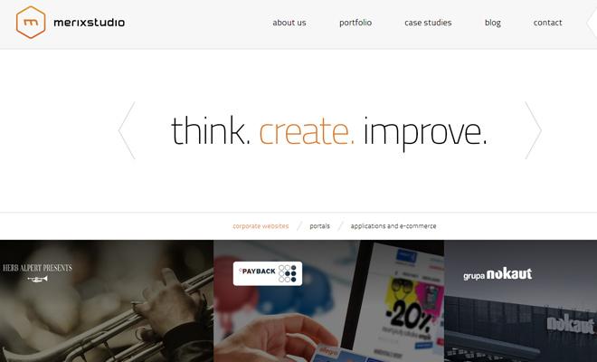 merix studio website design portfolio layout