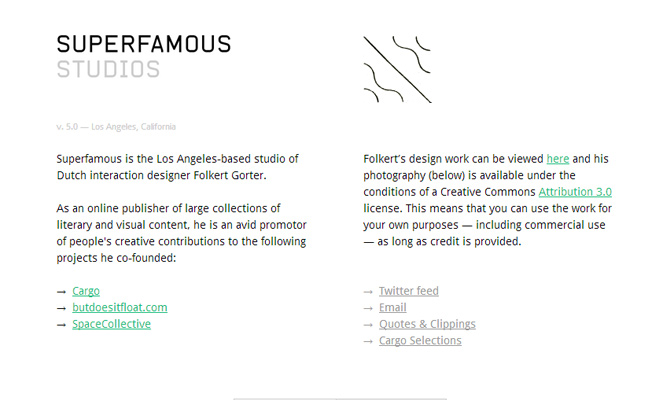 superfamous white clean studio website layout