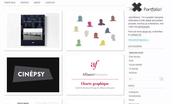 graphic print designer white portfolio layout