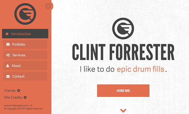 clint forrester dynamic portfolio website sliding navigation