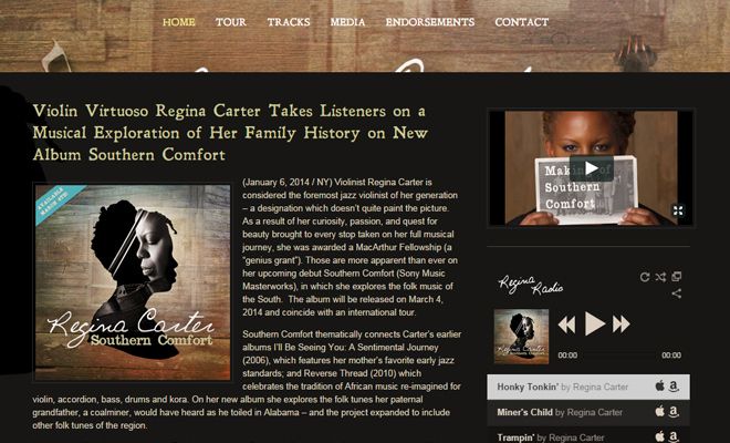 regina carter musician website layout