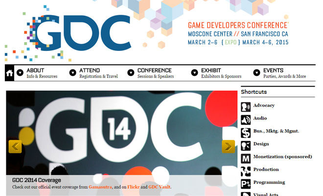 gdc game developers conference homepage