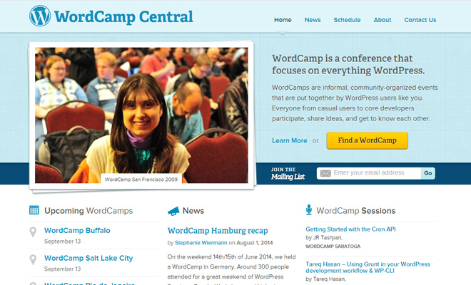 wordcamp central wordpress conference website layout