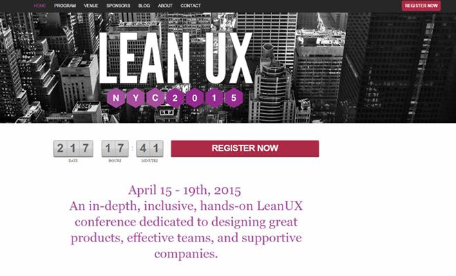 lean ux 2015 conference website design