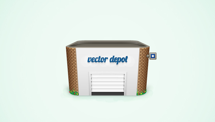 vector detailed depot building icon