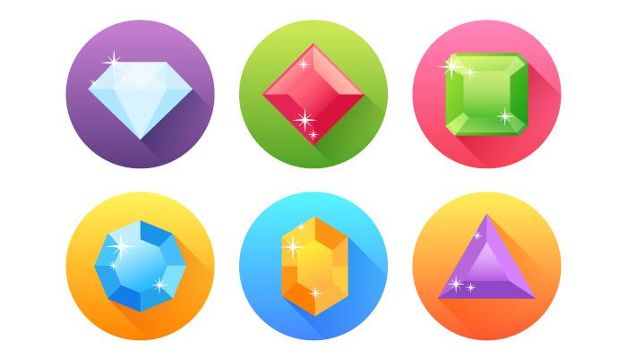 flat precious gem icons illustrator