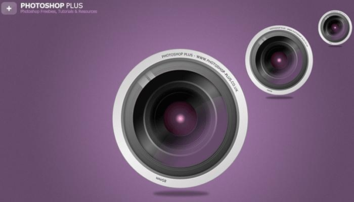 camera lens photoshop tutorial icon
