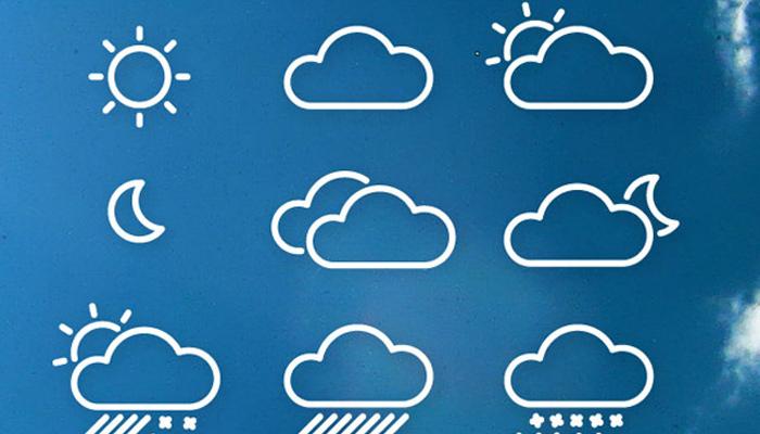 line icons weather symbols glyphs