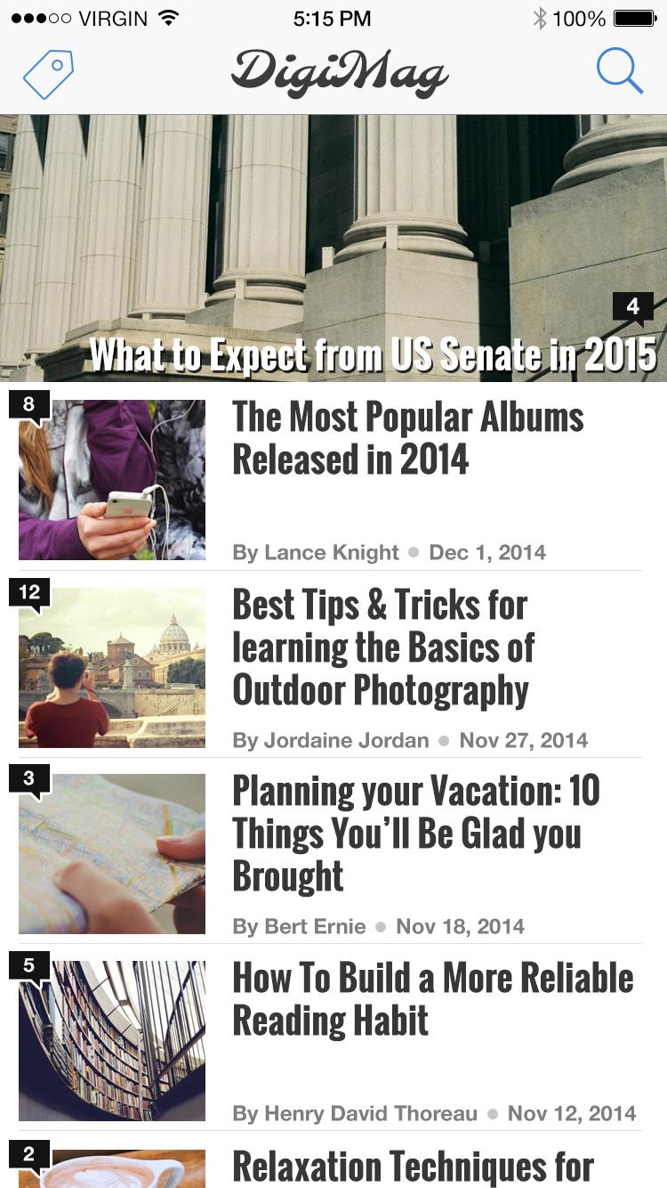 fullscreen preview digimag iphone app ui psd freebie