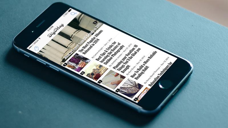 digimag - freebie psd digital magazine iphone 6 app ui
