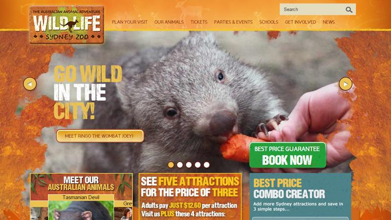 sydney zoo australia website layout