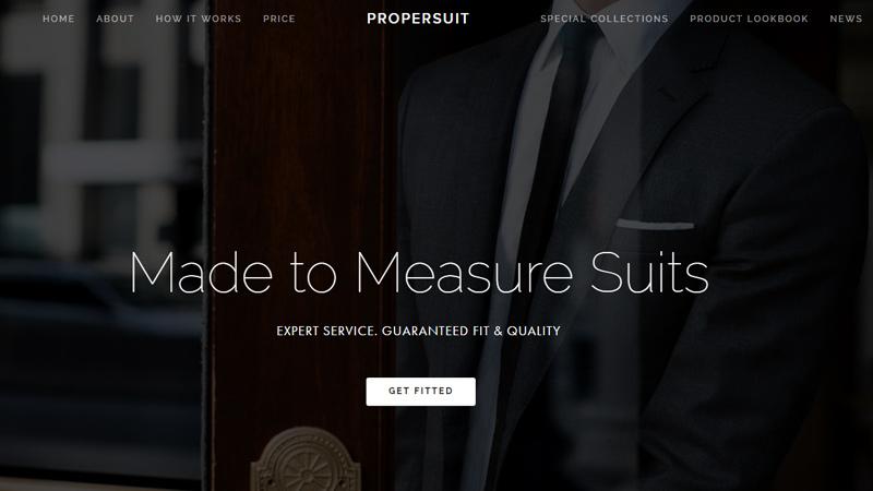 custom suits dark website layout propersuit