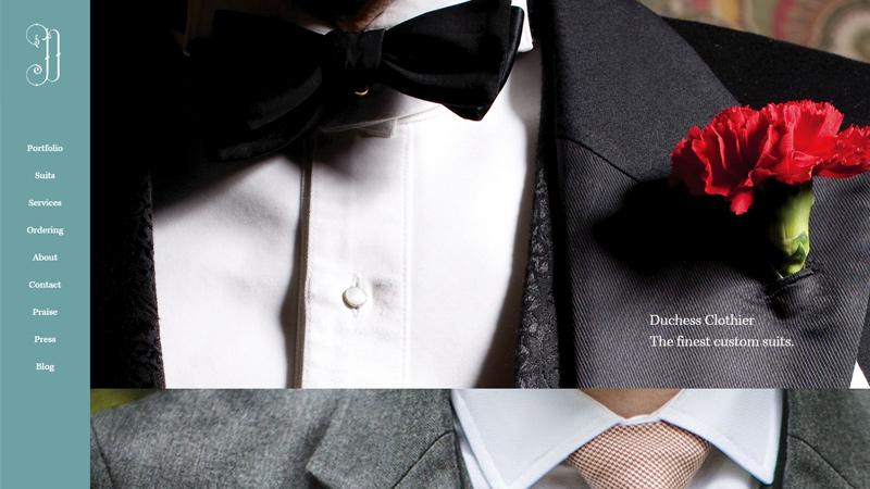 duchess clothier website vertical tailor layout